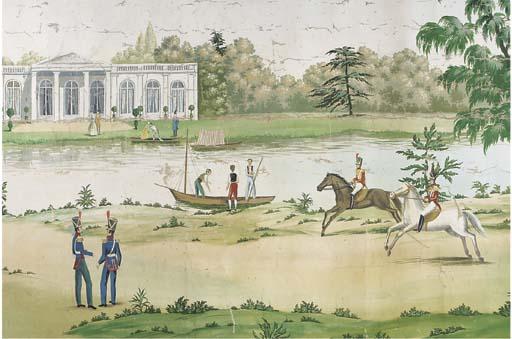 A gouache painted canvas panor
