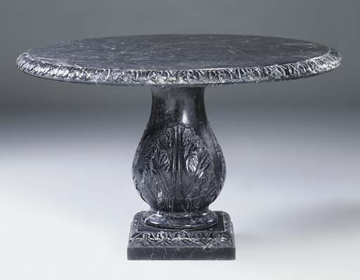 A carved variegated black and