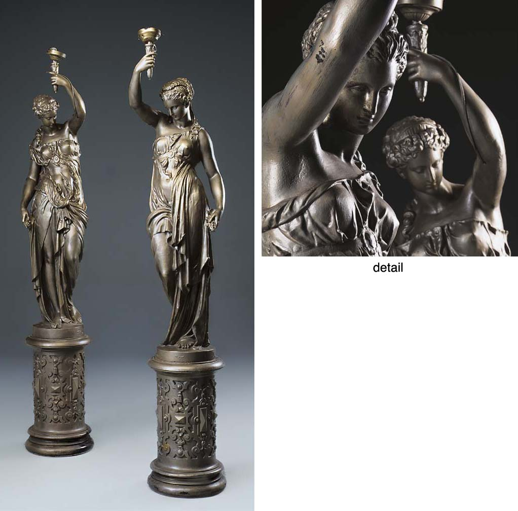 A pair of large French cast ir
