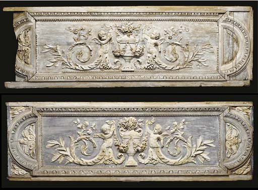 A pair of carved and limed rec