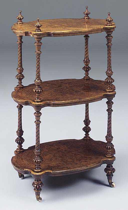 A VICTORIAN BURR WALNUT THREE