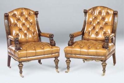 A pair of Victorian mahogany l