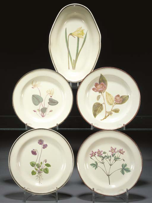 A creamware botanical dish and