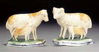 A pair of creamware sheep and