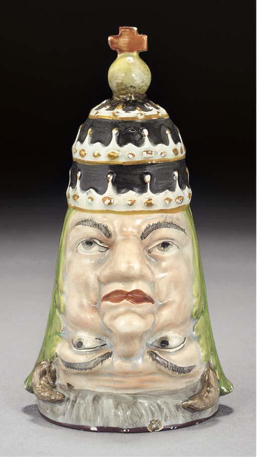 A pearlware 'Anti-Popery' stir