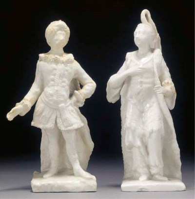 A pair of Bow white figures of