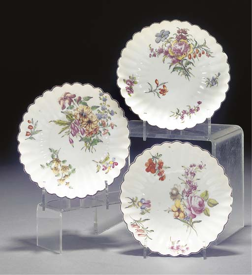 Three Chelsea fluted saucers