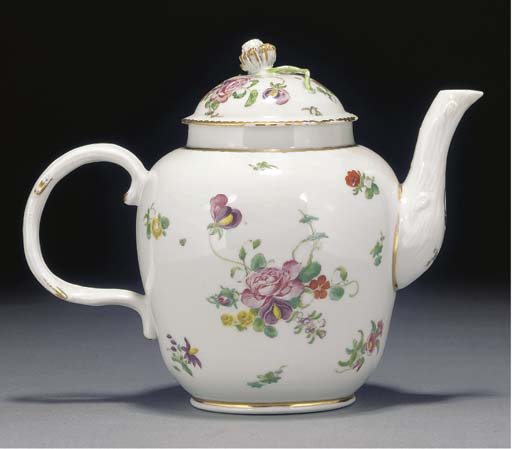 A Bristol oviform teapot and cover