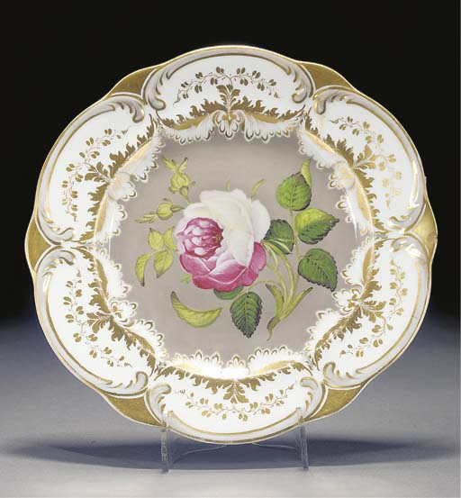 A Rockingham plate, two Spode