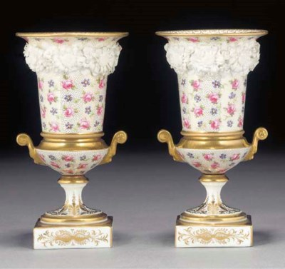 A pair of French porcelain sle