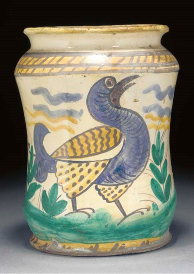 A Continental maiolica jar