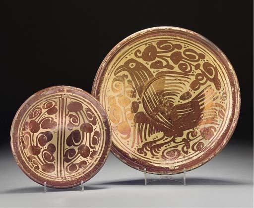 Two Hispano-Moresque copper-lu