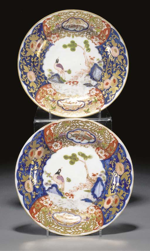 A pair of Meissen Imari plates