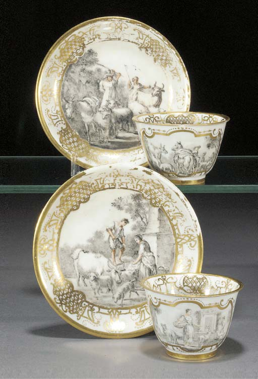Two Meissen hausmalerei teabow