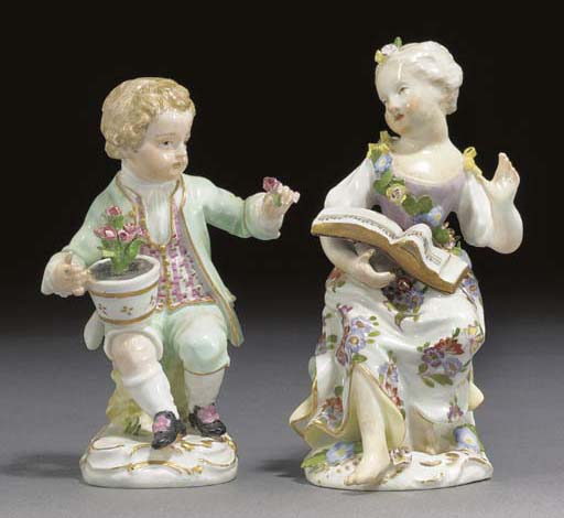 A Meissen figure of a youth an