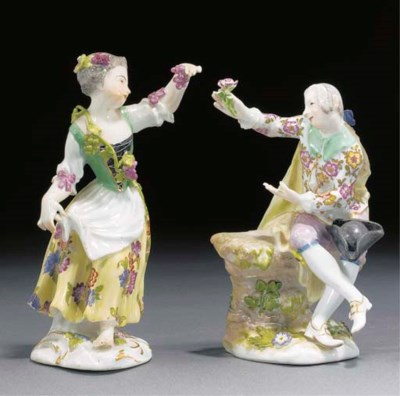 A Meissen figure of a girl and