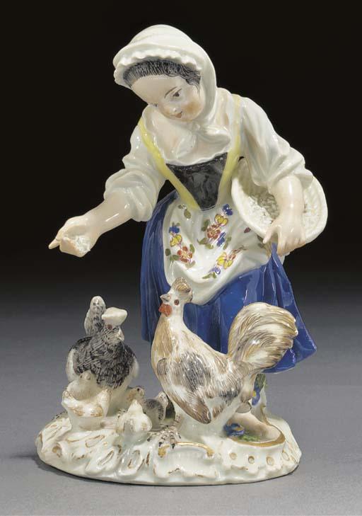 A Meissen figure of a girl fee