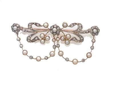 A diamond and half-pearl brooc