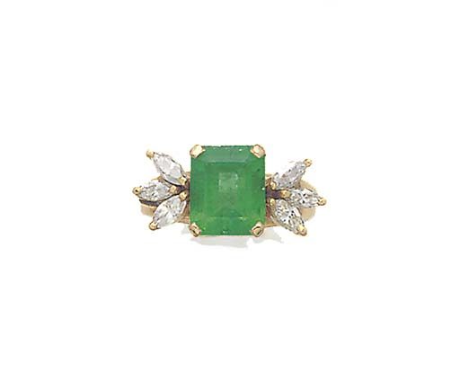 AN EMERALD AND MARQUISE DIAMON
