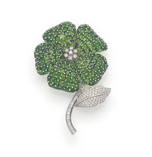 A DIAMOND AND GREEN GARNET FLO