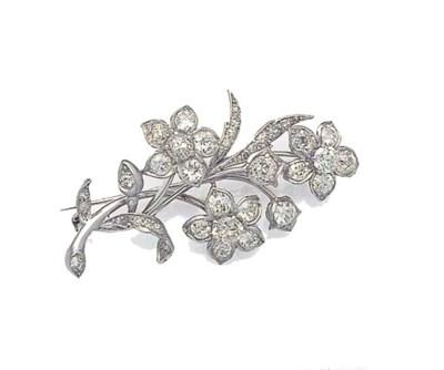 A DIAMOND FLOWER-SPRAY BROOCH