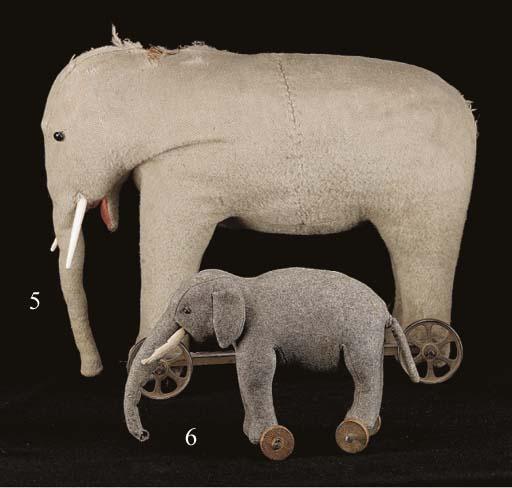 An early elephant on wheels