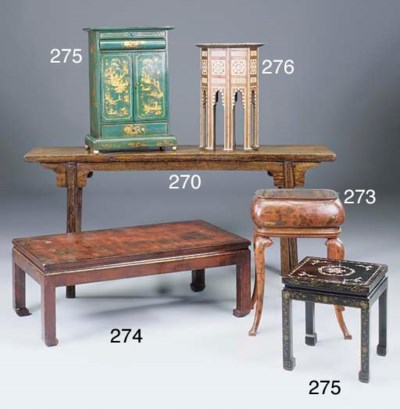 A CHINESE GREEN LACQUER TABLE