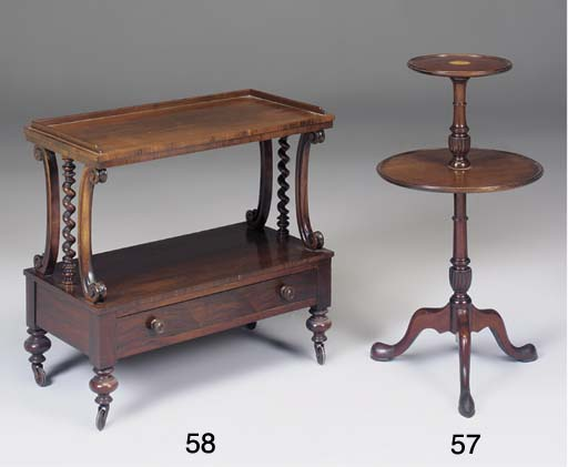 A mahogany and inlaid two tier