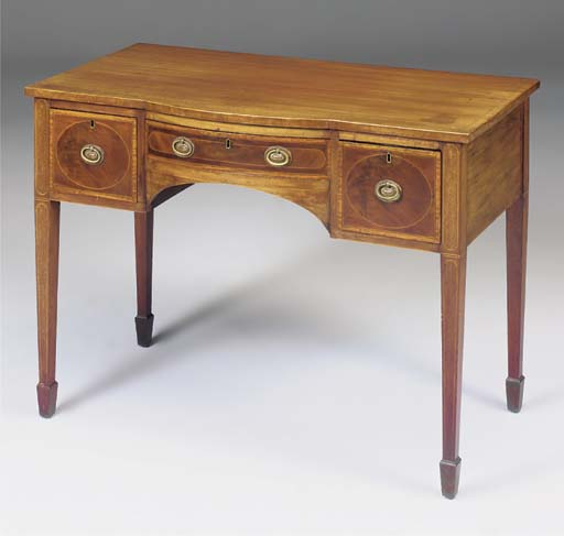 A mahogany and satinwood bande