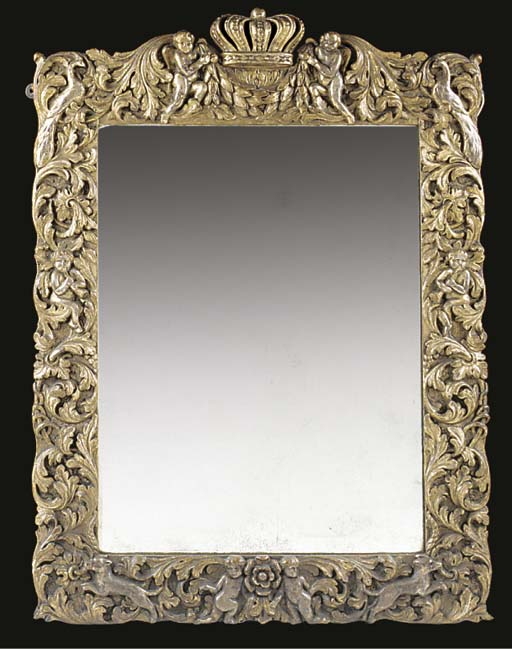 A CARVED SILVERED AND GESSO WA