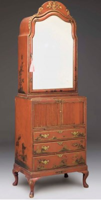 A RED JAPANNED, CHINOISERIE AN