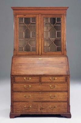 An oak bureau bookcase, possib