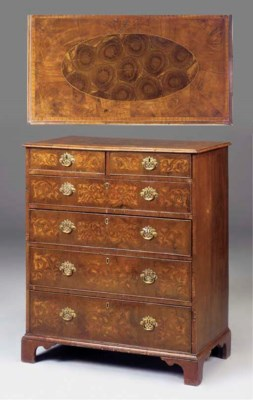A WALNUT MARQUETRY AND OYSTER