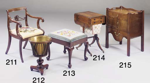 A GEORGE III TRAY TOP COMMODE