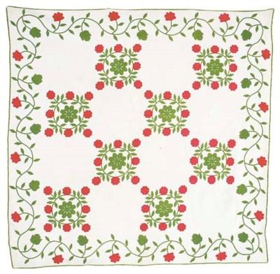 'Rose wreath' variation quilt,