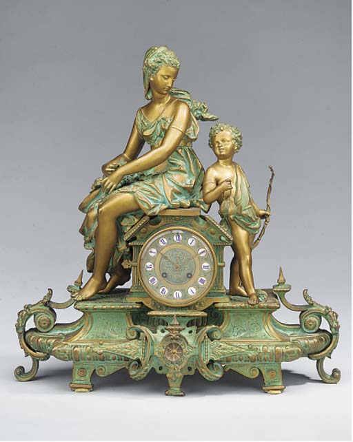 A French gilt and green painte