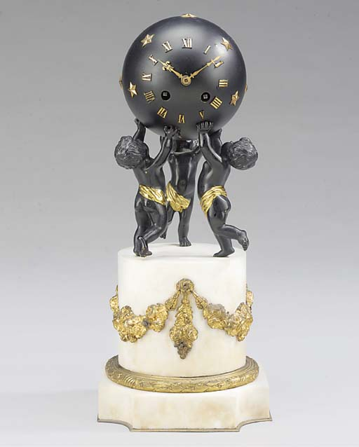 A French white marble, gilt an