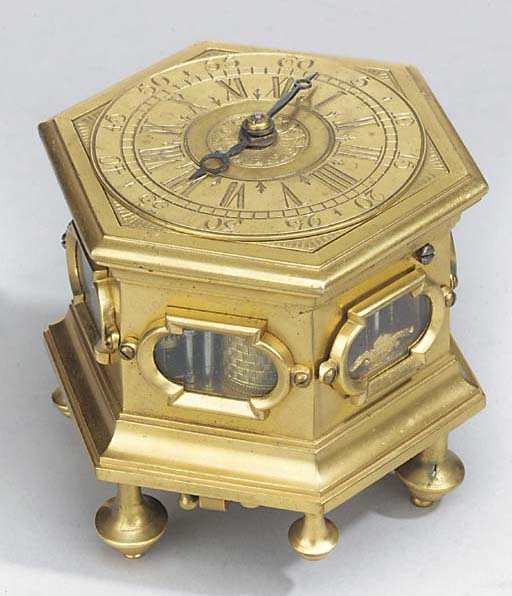 A small gilt-brass hexagonal s