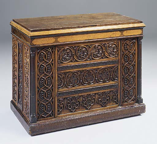 A VICTORIAN CARVED SATINWOOD A