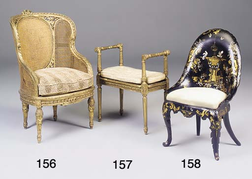A FRENCH GILTWOOD AND CANED BE