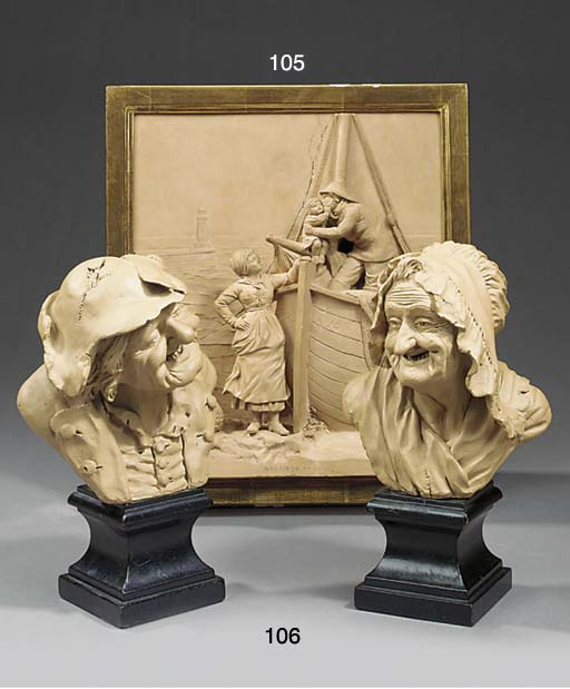 A PAIR OF PATINATED PLASTER BU