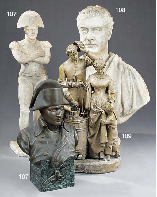 A French spelter bust of Napol