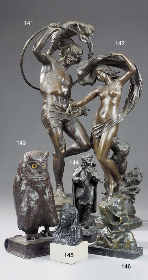 A French bronze group of a per