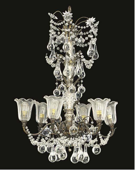 A glass six light chandelier