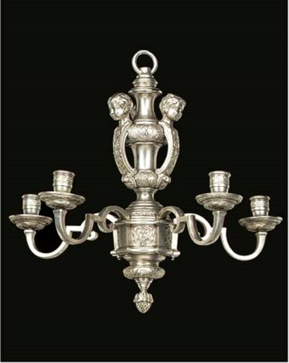 A French silvered metal five l