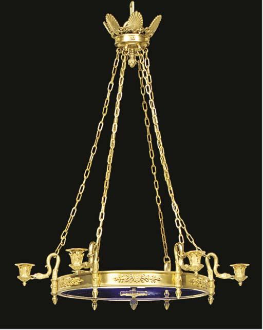 A gilt metal and blue glass si