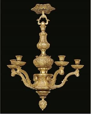 A gilt metal five light chande