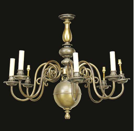 A brass eight light chandelier