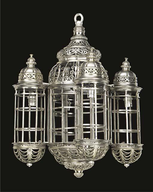 A silvered metal openwork ceil
