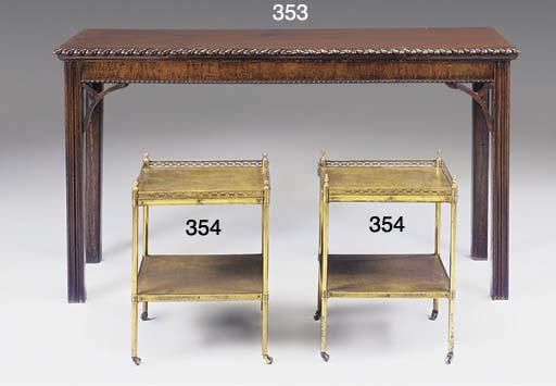 A PAIR OF GILT BRASS TWO TIER